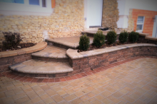 Walkway with Steps and Retaining Wall